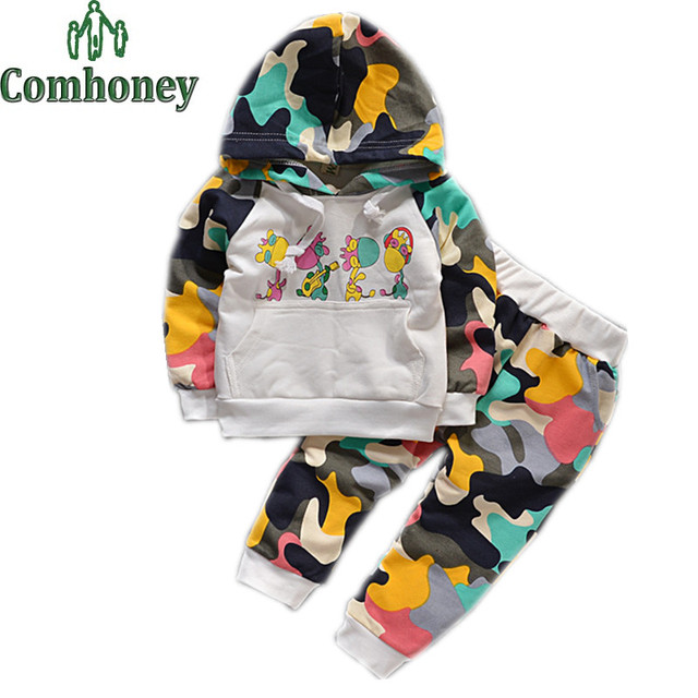 Camouflage Boys Clothing Set 2 PCS Camouflage Hoodies+Harem Pants Boys Girls Children TrackSuit Set Child Sports Clothing Set