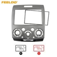 FEELDO 2DIN Grey Car Refitting Stereo DVD Frame Fascia Dash Panel Installation Kits For Ford Everest