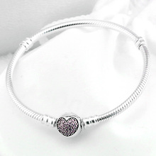 Authenetic 925 Sterling Silver Bracelet Crystal Love Heart Clasp Snake Chain Bracelets Bangle Fit Bead Charm DIY Jewelry HKC4004