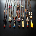 David Kabel Men Necklace Quality Black Agate Wood Beads with Tree Pendant Mens Rosary Necklace Wooden Beads Mens jewelry