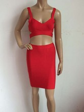 two piece bandage dress set backless strap knee-length
