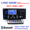 12 V Lyric Show Display LCD Bluetooth MP3 Placa de Decodificação Módulo SD/MMC USB FM Remoto Interruptor de Mudança de Pasta Kit Decodificador WMA WAV LRC