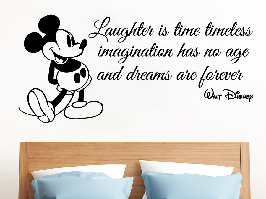 Online Shop Mickey Mouse Wall Decals Quote Laughter Is Vinyl Sticker ...