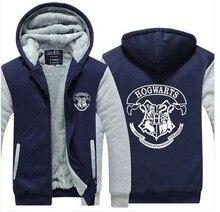 Harry Potter Pattern Hoodies Coat Patchwork Long Sleeve Fleece Coat Thicken Casual Zipper Hoody Sweatshirt Jacket