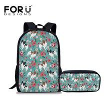 FORUDESIGNS 2Pcs/set Large School Bags for Teenager Girls Papillon Print Schoolbag Kawaii Women Travel Shoulder Backpack Satchel