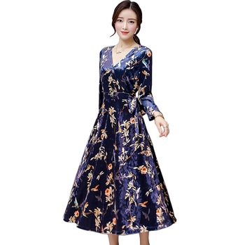 Autumn plus size women clothing 2017 fashion v neck sexy long maxi bandage dress woman vintage floral velvet dresses elbise robe