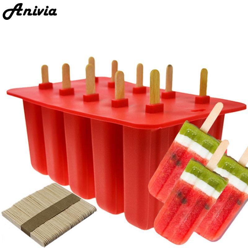Anivia 10 Cellulaire Silicone Frozen Ice Cream Pop Popsicle Moule de Glace Maker Lolly Moule Plateau Pan Cuisine BPA-livraison + 50 Bâtons En Bois