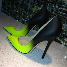Black Green Gradient Color Women Pumps Sexy Pointed Toe Stiletto High Heels Wome Candy Elegant Ladies Dress Wedding Shoes Woman fashion sweet women 10cm high heels pumps female sexy pointed toe black red stiletto high heels lady pink green shoes ds a0295
