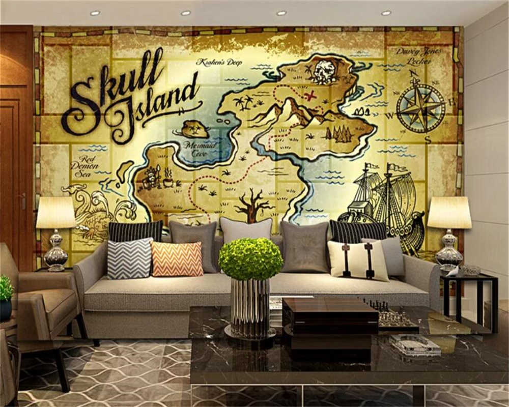 Beibehang Wallpaper Kustom 3D Foto Mural Retro Nostalgia Kapal Bajak Laut Berlayar TV Latar Belakang Dinding Lukisan 3D Kertas Dinding