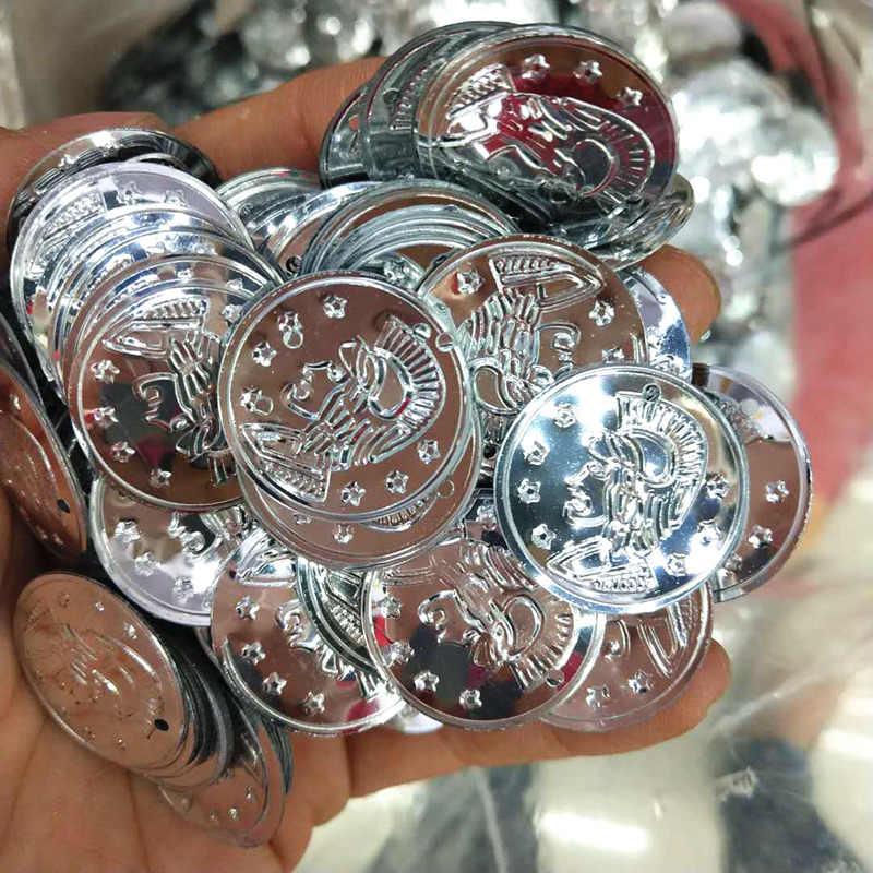 300 cái/lốc 22mm Đồng Xu Đầm Mặt Dây Chuyền PVC Paillettes May Vá Thủ Công Phụ Kiện Tướng Đầu Chân Dung Múa Bụng Khăn Đồng Tiền Bạc