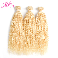 Ms Love 613 Blonde Mongolian Kinky Curly Hair 3 Bundle Deals Curly Weave Human Hair Extensions