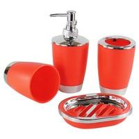 4 Pcs Set Bathroom Accessories Sets Plastic Shampoo Press Bottle Wash Gargle Cup Toothbrush Holder Soap