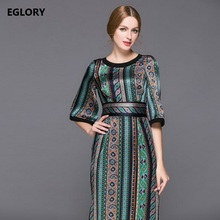 Top Grade Dress New Style Autumn Spring 2018 Women Vintage National Print 3/4 Sleeve Sexy Slit Mid-Calf Length Empire Dress XL