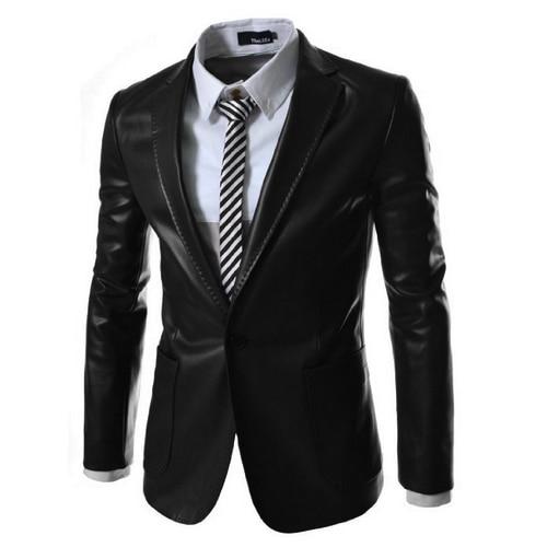 New Brand 2016 Autum Winter Men Leather Jacket Coat Formal Male Leather Blazer Suit Jacqueta De
