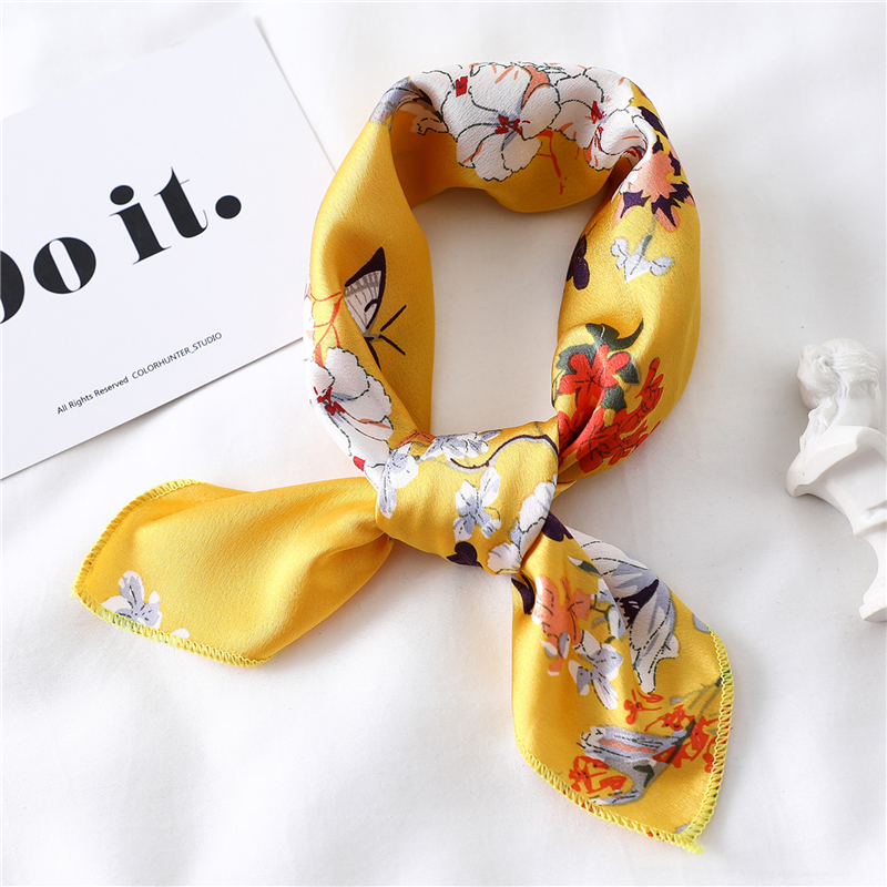 Silk Neck Scarf For Women Square Foulard Scarfs Female Hairband Designer Print Office Lady Neckerchief Bandana Scarves 2020 New