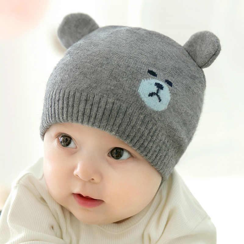 0-12เดือนฤดูใบไม้ร่วงฤดูหนาวทารกแรกเกิดถักหมวกการ์ตูนหมีเด็กหนุ่มๆสาวๆในช่วงฤดูหนาวหมวกหมวกหมวก