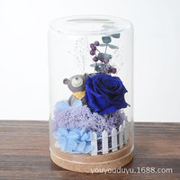 16cm Fresh Preserved Pink Blue Rose Flower Monologue Wishing Bottles With Fence Bear Moss Birthday Gift