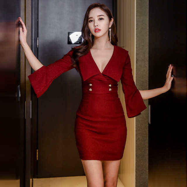 499beaa569aa Korean fashion women bodycon dress sexy new v-neck horn sleeve package  buttocks thin red