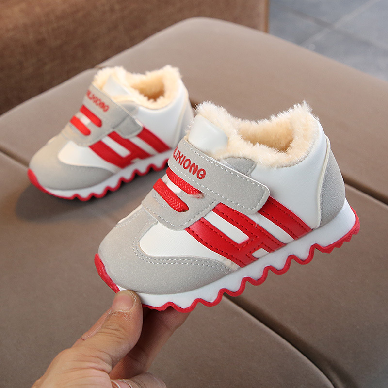 Newborn Baby Girl Flannel Casual Shoes Toddler Mesh Patchwork Infant Boy Tennis Shoes Soft-soled Breathable Kids Sneakers 1*Pair