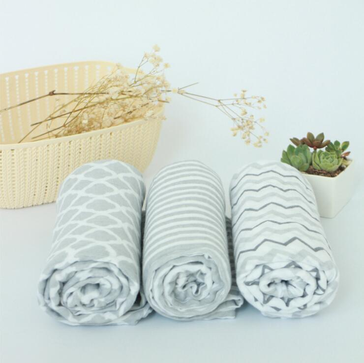 wholesale Baby swaddle blanket muslin organic cotton for boy and girl Receiving blankets newborn sheet Bath towel Grey Stripe