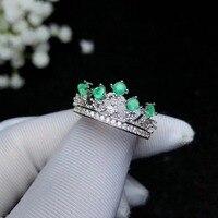 Корона изумруд кольцо Настоящее и натуральный изумруд кольцо стерлингового серебра 925 Ювелирные украшения драгоценный камень для человека