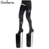 Высокие сапоги до бедра на очень высоком каблуке, женская обувь на металлическом каблуке, женская обувь для кроссдрессеров, пикантная Фетиш