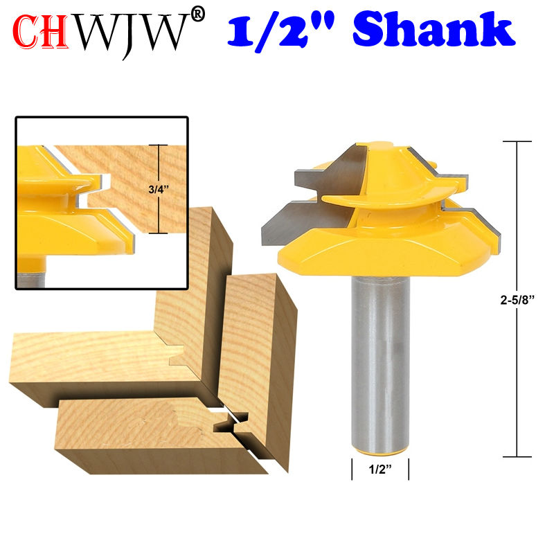 1pc 1/2 Shank Medium Lock Miter Router Bit - 45 Degree - 3/4 Stock - Tenon Cutter for Woodworking Tools- Chwjw 15127 2pcs 1 2 shank lock miter router bit tenon milling cutter for woodworking cutter tool cutting tools tenon cutter