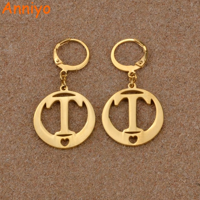 Anniyo Gold Color Letters Earrings Initial For Women Kiribati Alphabet Earring English Letter Jewelry