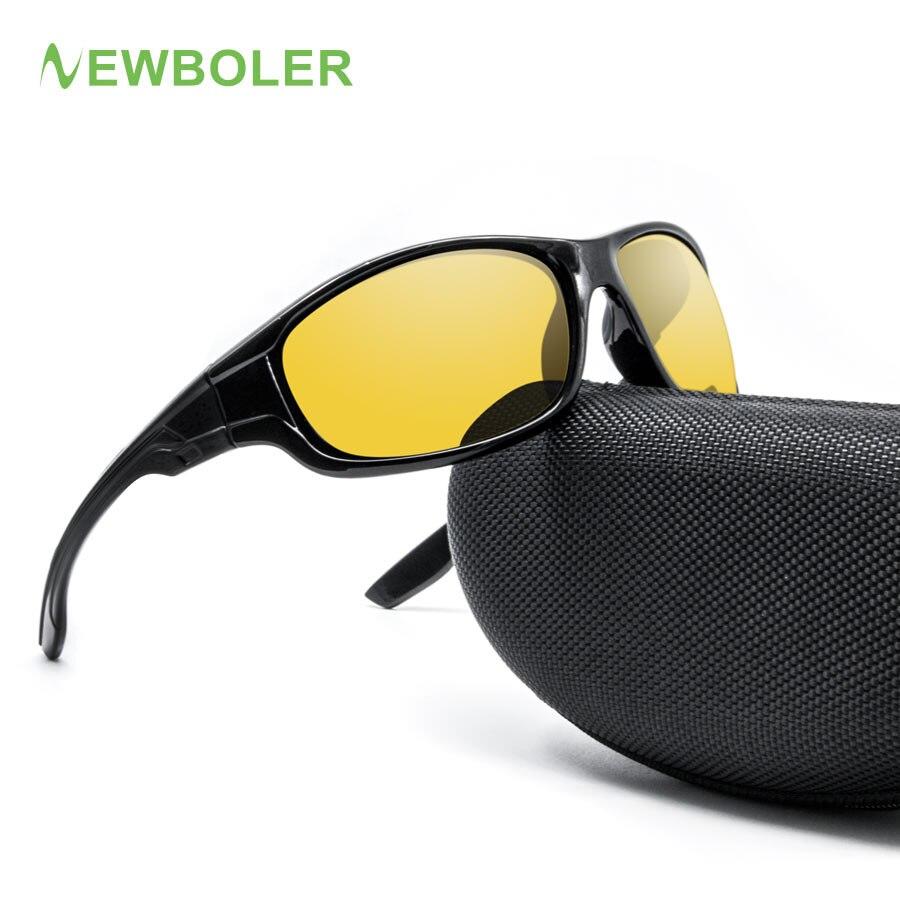 9984b39ec NEWBOLER 2018 Óculos De Pesca Óculos Polarizados Lentes Marrom Amarelo  Versão Noite de condução óculos de Sol Do Esporte Das Mulheres Dos Homens  Óculos De ...