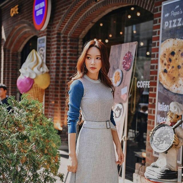 Dabuwawa Women Winter Splicing Knitted Sweater New Long Sleeve Patchwork Elegant Pullover Sweater Top D18DJS034
