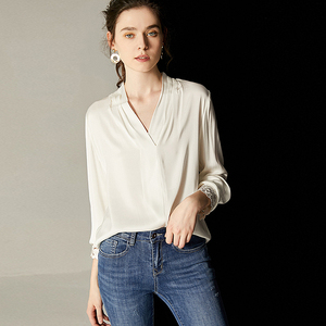Image 2 - 100% Silk Blouse Women White Shirt Elegant Design Solid V Neck Embroidery Long Sleeves Office Top New Fashion 2019