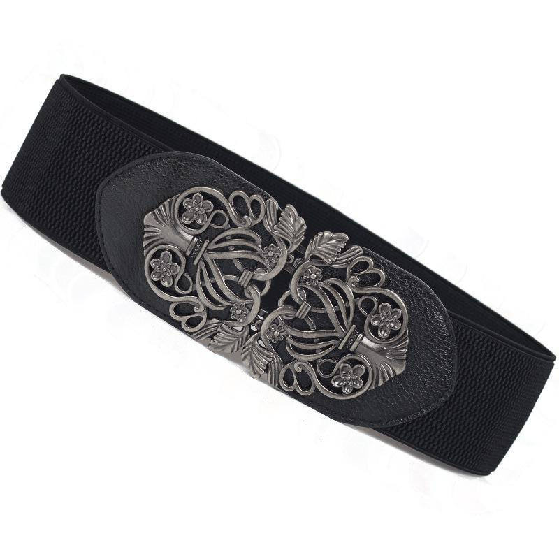 Retro Carved Wide Belt Women Korean Palace Elastic Wide Belts For Dresses Cummerbund Wholesale