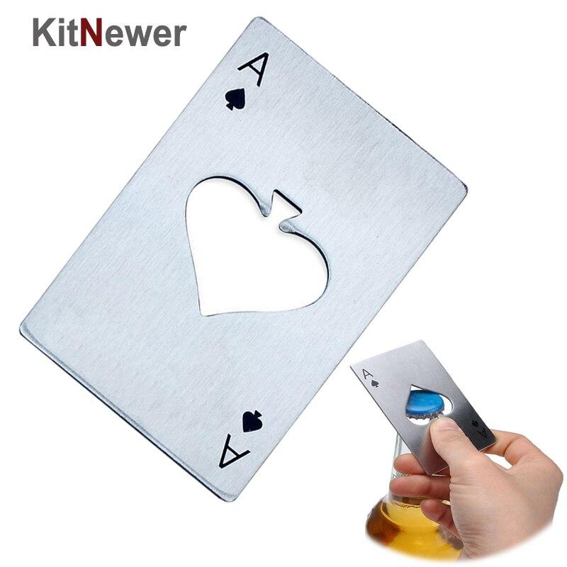 Hot Stylish Poker Stainless Steel Poker Playing Card Beer Bottle Cap Opener Tool