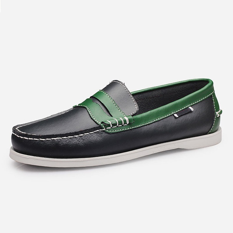 Men's Fashion Mixed colors Casual Slip On Driving Shoe Work Loafer Handsewn Sutures Genuine Leather Boat Shoes for Male(China)