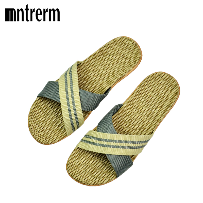 Mntrerm New Men' Slippers Breathable Linen Wave Mixed Colors Home Slippers Summer Thick Non-slip Indoor Slippers Beach Slippers coolsa men s summer linen silppers breathable non slip fashion home slippers men s hemp basic slides men s indoor flax slippers
