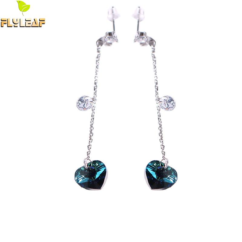 Flyleaf Heart Shape Crystal Drop Earrings For Women Real 925 Sterling Silver Fine Jewelry Cubic Zirconia Earings Fashion Jewelry