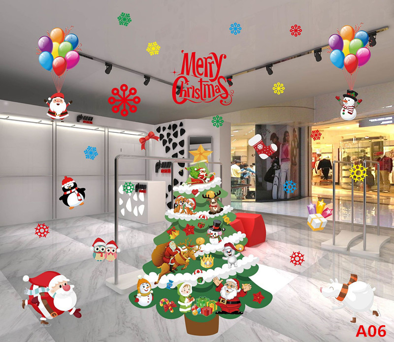 Merry Christmas Happy New Year Santa Murals Reindeer Window Stickers Christmas Decoration