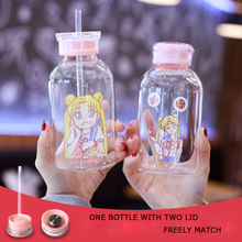 Creative small Cut cartoon beautiful girl water cup with straw bottle wholesale single-layer glass 450ml 700ml drinking sets