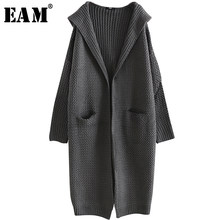 [EAM] 2019 New Spring Fashion Loose Long Sleeve Hooded Split Joint Pocket Knitting Cardigan Casual Open Stitch Woman BL814(China)