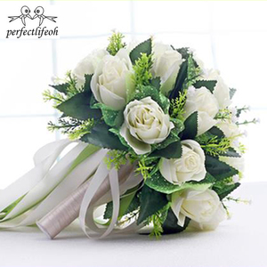 Image 5 - Perfectlifeoh ראמוס דה novia לבן רוז כלה זר חתונת פרחים רומנטי משי זרי חתונה עבור כלות