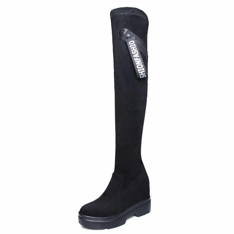 FEDONAS Merk Vrouwen Over De Knie Hoge Laarzen Wiggen Hoge Hakken Platforms Casual Schoenen Vrouw Strakke Hoge Lange Warme Dansen laarzen