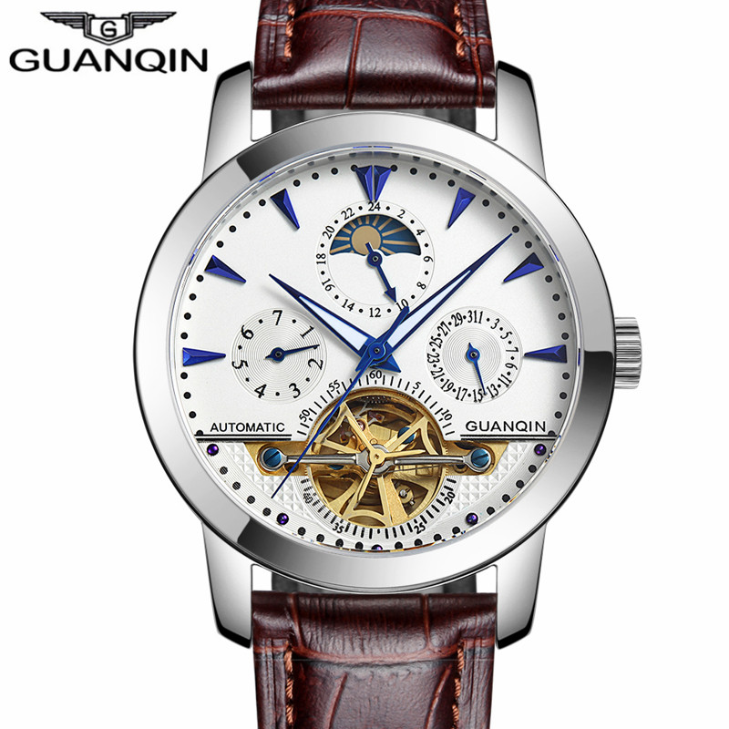 GUANQIN Luxury Men's Casual Watches Tourbillon Automatic Mechanical Leather Watch Men Sport Date Luminous Clock reloj hombre casual leisure sport men s mechanical wrist watch leather strap tourbillon calendar display luminous night light big crown