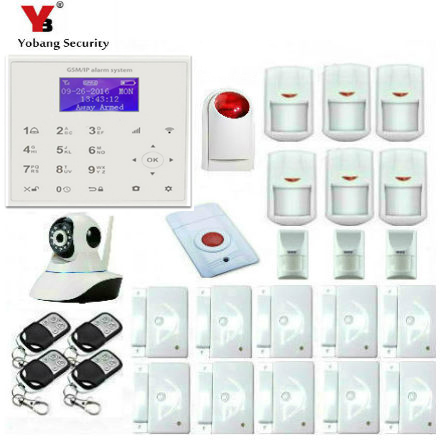 YobangSecurity IOS Android APP GSM WIFI GPRS Touch Pad Home Alarm Security System Indoor IP Camera With Wireless Flash Siren yobangsecurity touch keypad wifi gsm gprs rfid alarm home burglar security alarm system android ios app control wireless siren
