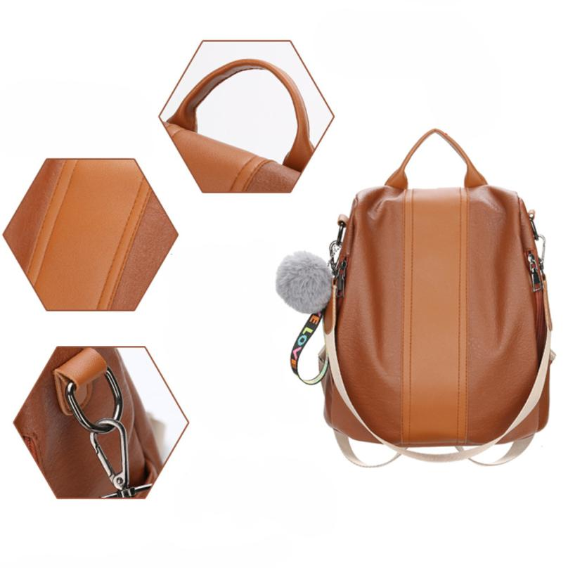 New PU Leather Backpack Female Plush Ball Zipper Shoulder Bags Travel Rucksack School Bags for Women 2018 Mochila Feminina