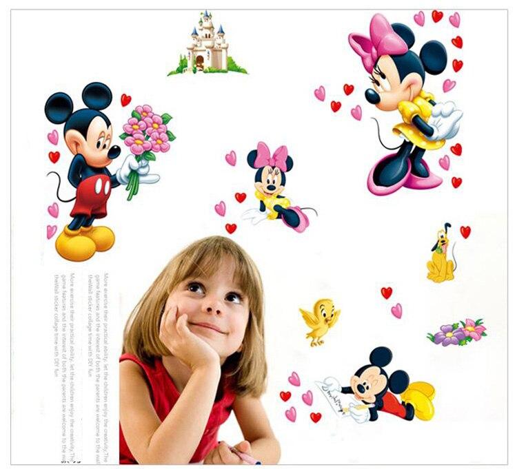 Envío Gratis Cartoon Mickey Minnie Mouse bebé pared pegatinas de ...