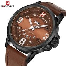 Top Brand Naviforce Moda Hombres Relojes Militar Hombres de Cuarzo Hora Fecha Reloj de Lujo Del Deporte Reloj Masculino Ocasional de Cuero Reloj de Pulsera