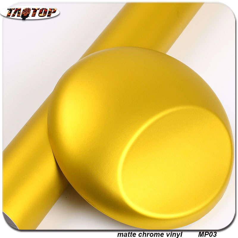 wholesale 1.52x20m RoHS air bubbles free Matte Chrome Vinyl matte pearl film gold color vinyl wraps for cars