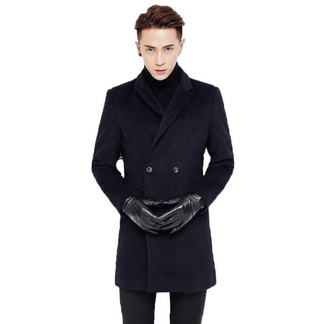 10ea8e0e22930 Grueso abrigo de lana para hombre hombres chaqueta de invierno hombres  medio largo marca de ropa