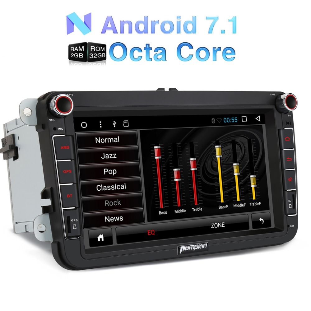 Pumpkin 2 Din Android 7.1 Car Radio No DVD Player GPS Navigation Qcta core Car Stereo For VW/Volkswagen/Golf/Seat Wifi Headunit
