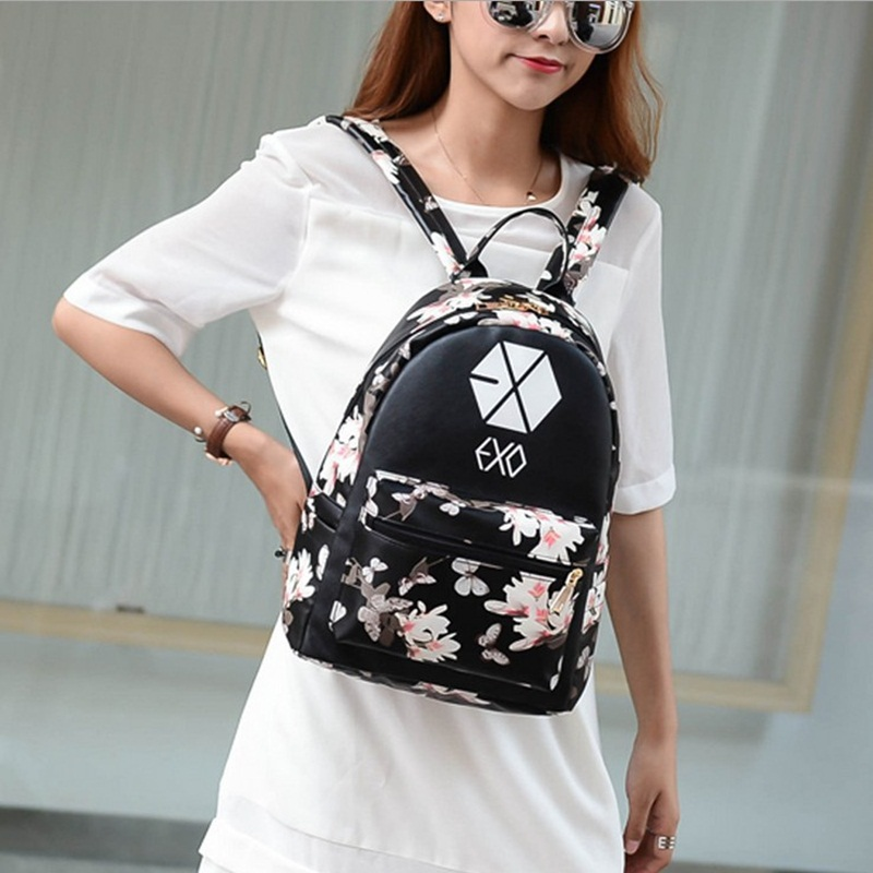 Women Leather Small Floral Print Preppy Style Travel Exo School For Teen Light Bolsa Feminina Bag Chills And Pains Luggage & Bags